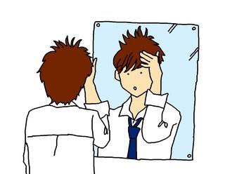 鏡と男子高校生
