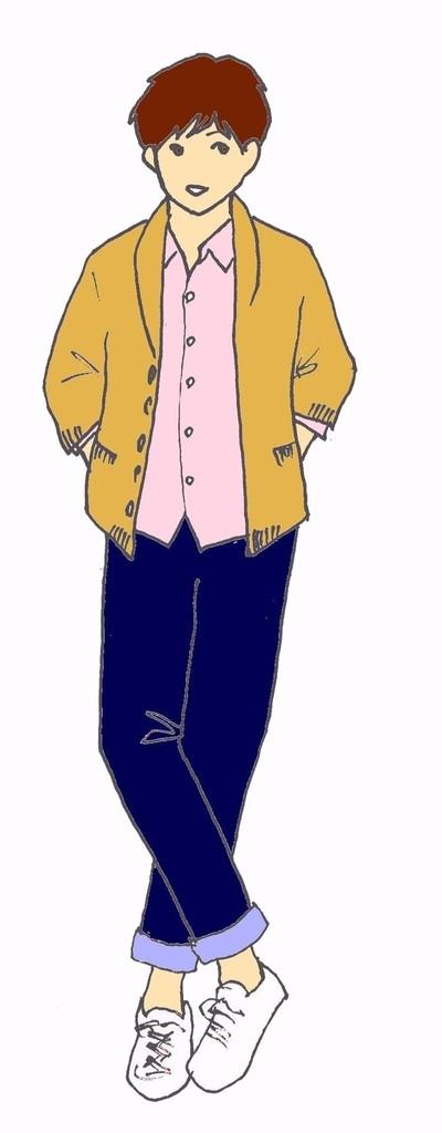 2015 ショール×ピンクシャツ×デニム×スニーカー.jpg